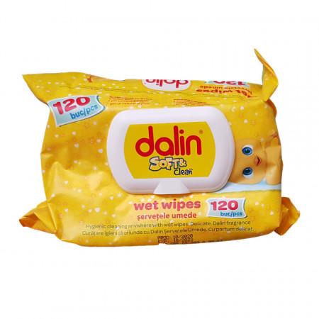 Șervețele umede cu capac Dalin Soft & Clean, conțin 120 bucăți