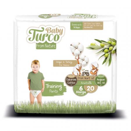 Scutece Chiloțel bumbac, Vegane Baby Turco pentru Copii între 16 și 25 Kg Numărul 6 Set de 20 bucăți