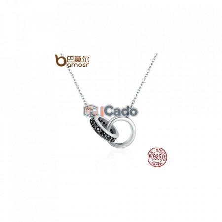 Colier din argint Circle in Circle Black CZ - BAMOER Authentic 925