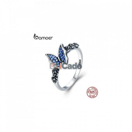 Inel din argint Butterfly & Flower Blue CZ - Sterling Silver