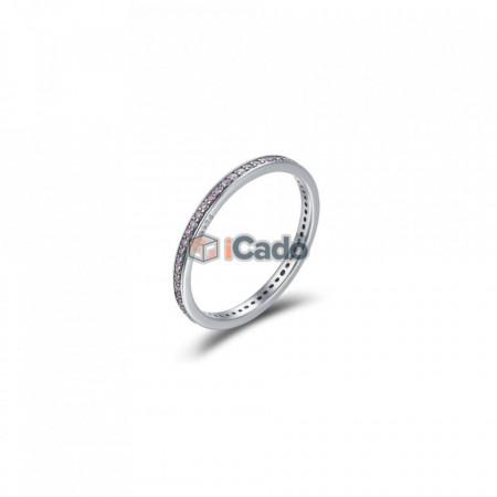 Inel din argint Luminous CZ Round - BAMOER Authentic 925 roz