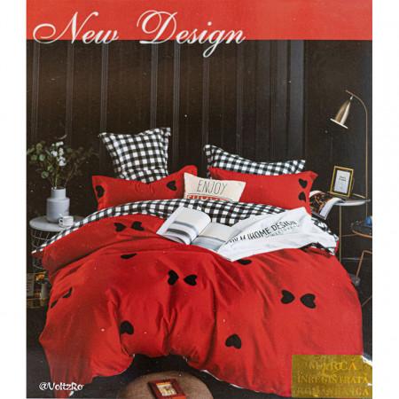 Lenjerie de pat cu 6 piese din bumbac satinat 250 x 230 cm LP6P-14