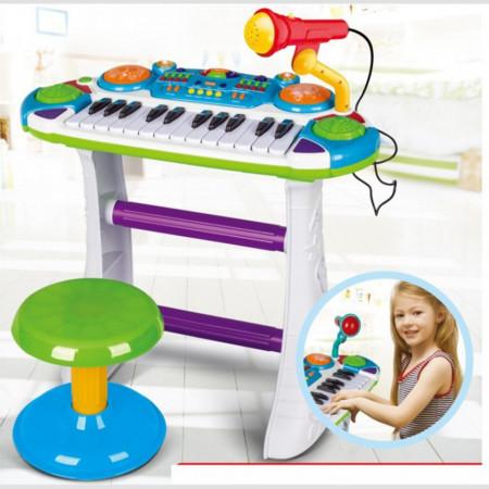 Orgă cu microfon și scăunel pentru copii de 3 ani+ Cod BB335B poza 2