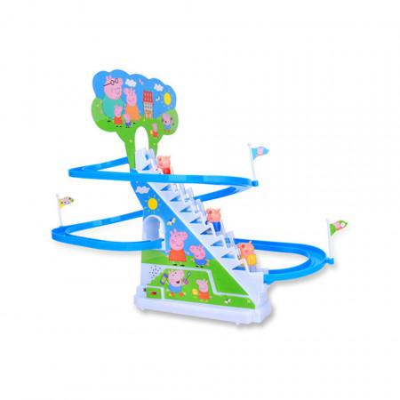 Purcelușii Peppa Pig Fericiți - Roller Coaster cu trei purceluși
