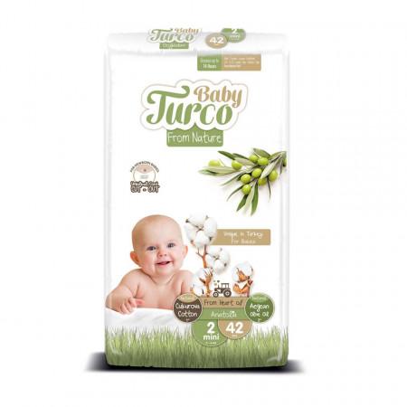 Scutece bumbac, Vegane Baby Turco pentru Bebeluși între 3 și 6 Kg Numărul 2 Set de 42 bucăți