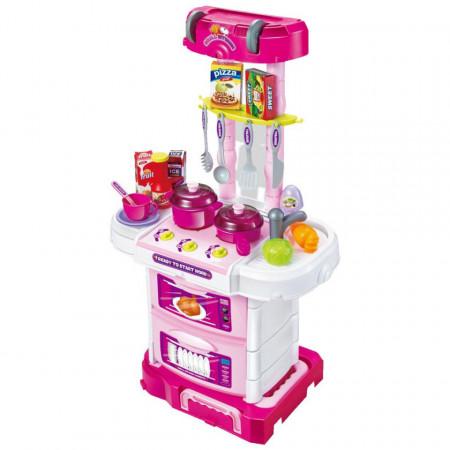 Set bucătărie pentru copii tip valiză 3 în 1 cu 43 accesorii, sunete și lumini Troler model W097