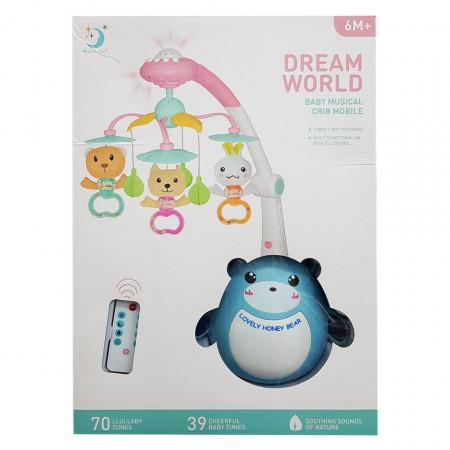 Carusel muzical cu telecomandă pentru bebeluși Dream World
