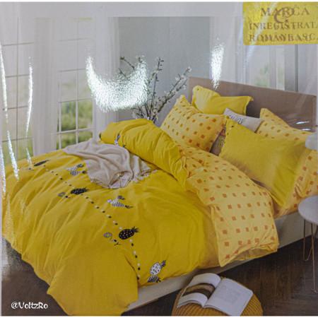 Lenjerie de pat cu 6 piese din bumbac satinat 250 x 230 cm LP6P-25