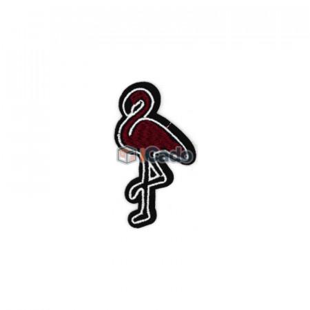 Pasare brodata Flamingo 3.5x6.5cm