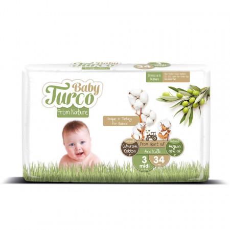Scutece bumbac, Vegane Baby Turco pentru Bebeluși între 5 și 9 Kg Numărul 3 Set de 34 bucăți