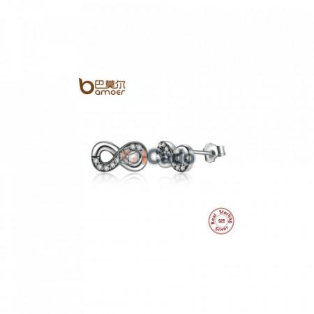 Cercei din argint Infinity Love, Clear CZ Knot Earrings - BAMOER High Quality 925