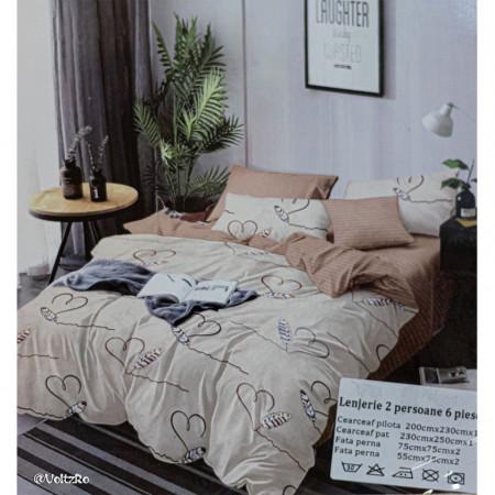 Lenjerie de pat cu 6 piese din bumbac finet dimensiune 250 x 230 cm LP6PF-15
