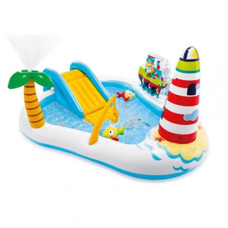 Piscină gonflabilă cu tobogan pentru copii Barcă de pescuit Intex, dimensiune 218 x 188 x 99 cm poza 1
