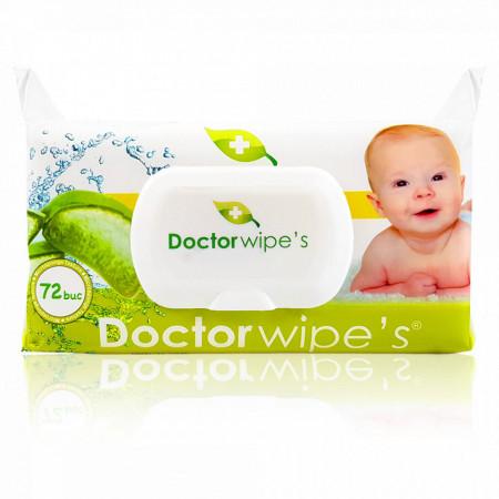 Șervețele umede cu capac Doctor Wipe's cu Aloe Vera, conțin 72 bucăți