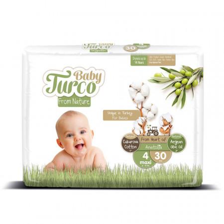 Scutece bumbac, Vegane Baby Turco pentru Bebeluși între 8 și 14 Kg Numărul 4 Set de 30 bucăți