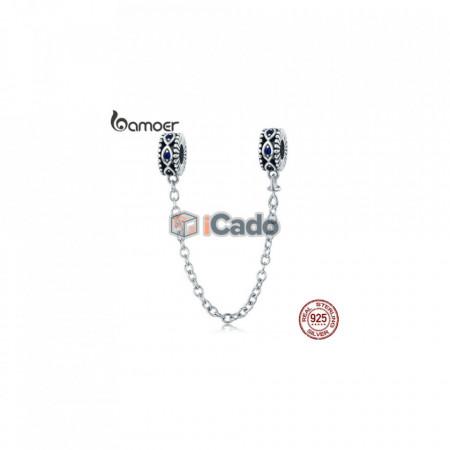 Talisman din argint Guardian Blue Eyes Blue CZ Safety Chain Stopper - BAMOER 100% 925