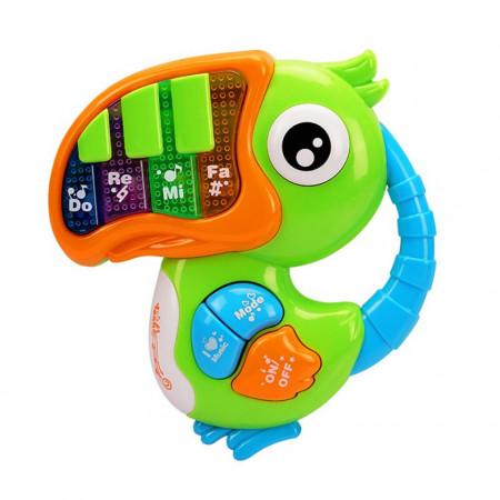 Papagal Tucan, pian de jucărie interactiv pentru bebeluși