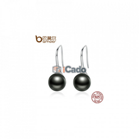 Cercei din argint Elegant Round Imitation Pearl Drop Earrings - BAMOER 925