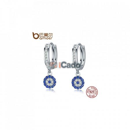 Cercei din argint Round Blue Clear Cubic Zircon Crystal Drop poza 1