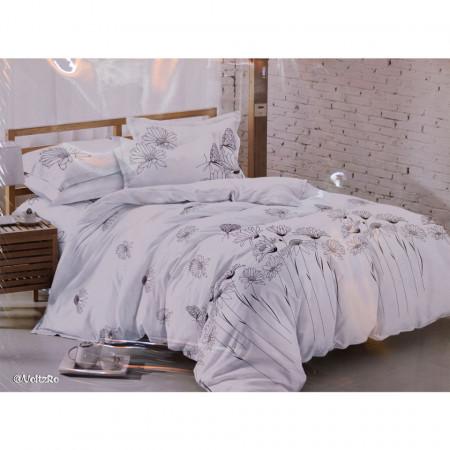 Lenjerie de pat 2 persoane cu 6 piese din bumbac finet dimensiune 240 x 220 cm LP6PF-37