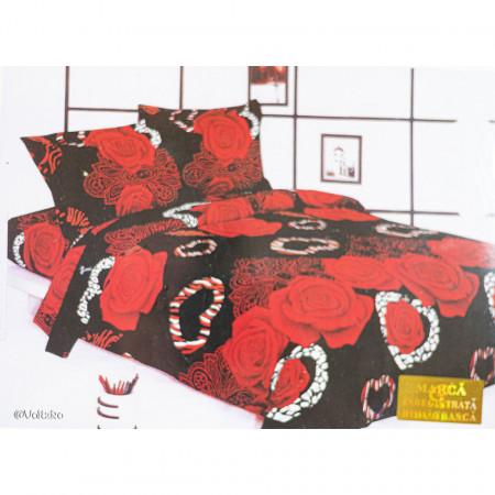 Lenjerie de pat cu 6 piese din bumbac finet dimensiune 250 x 230 cm LP6PF-26