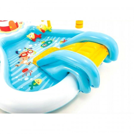 Piscină gonflabilă cu tobogan pentru copii Barcă de pescuit Intex, dimensiune 218 x 188 x 99 cm poza 2