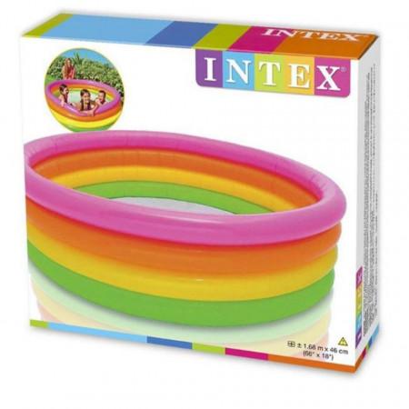Piscină pentru copii marca Intex, dimensiune 168 x 46 cm, multicolor cu 4 inele poza 2