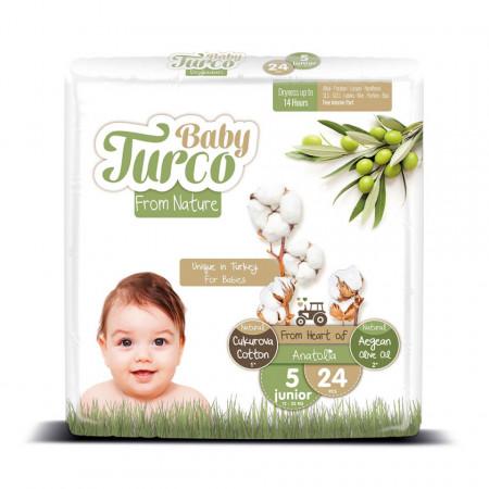 Scutece bumbac, Vegane Baby Turco pentru Copii între 12 și 25 Kg Numărul 5 Set de 24 bucăți
