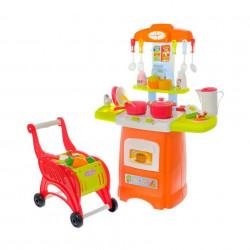Bucătărie de jucărie cu sunete, lumini și cărucior de cumpărături