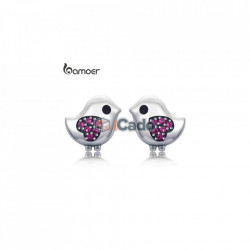 Cercei din argint Lovely Little Bird Clear CZ Pink Heart - BAMOER 100% 925