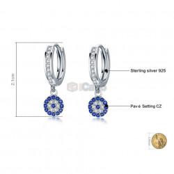 Cercei din argint Round Blue Clear Cubic Zircon Crystal Drop poza 2