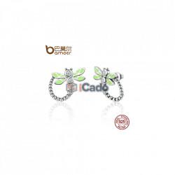 Cercei din argint Vivid Green Dragonfly