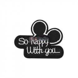 Emblema brodata So happy with you 8.5x6.5cm