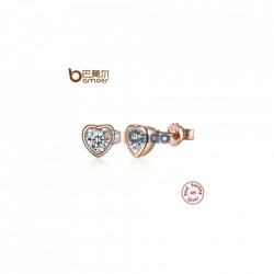 Cercei din argint One Love Stud Earrings with Clear CZ