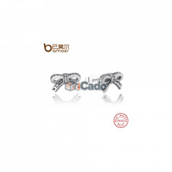 Cercei din argint Sparkling Bow Stud Earrings With Clear CZ