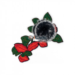 Floare brodata cu puf 11x16cm