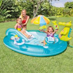 Piscină gonflabilă cu tobogan pentru copii marca Intex, dimensiune 201 x 170 x 84 cm poza 2