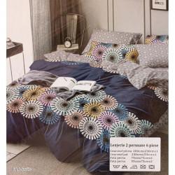 Lenjerie de pat cu 6 piese din bumbac finet 250 x 230 cm LP6PF-8