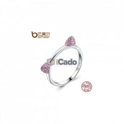 Inel din argint Cute Cat Ears Pink CZ
