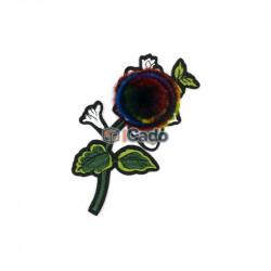 Floare brodata cu puf 9x15cm