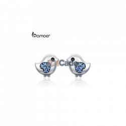 Cercei din argint Lovely Little Bird Clear CZ Blue Heart - BAMOER 100% 925 Sterling Silver