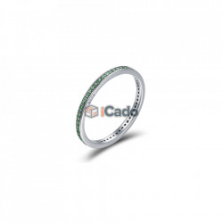 Inel din argint Luminous CZ Round - BAMOER Authentic 925 verde