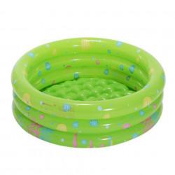Piscină pentru copii marca InTime, dimensiune 130 x 40 cm cu3 inele verde