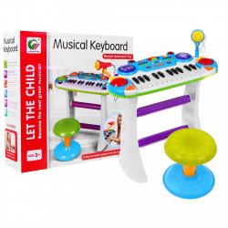 Orgă cu microfon și scăunel pentru copii de 3 ani+ Cod BB335B poza 3