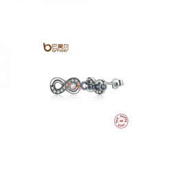 Cercei din argint Infinity Love, Clear CZ Knot Earrings
