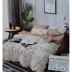 Lenjerie de pat cu 6 piese din bumbac finet 250 x 230 cm LP6PF-15