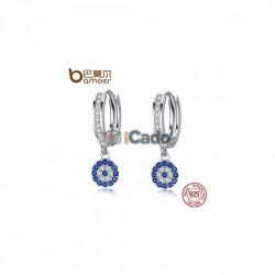 Cercei din argint Round Blue Clear Cubic Zircon Crystal Drop
