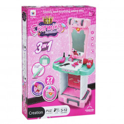 Poza din față cutie troler makeup 3 în 1 cu 27 accesorii, oglindă și feon funcțional