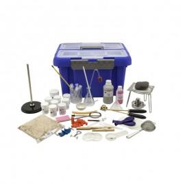 Trusa introducere in studiul chimiei sticlarie, ustensile, reactivi