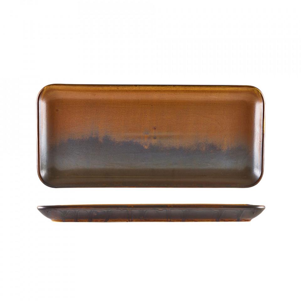 Platou rectangular Terra Porcelain Rustic Copper 36x17 cm NR-PRC36 - 1